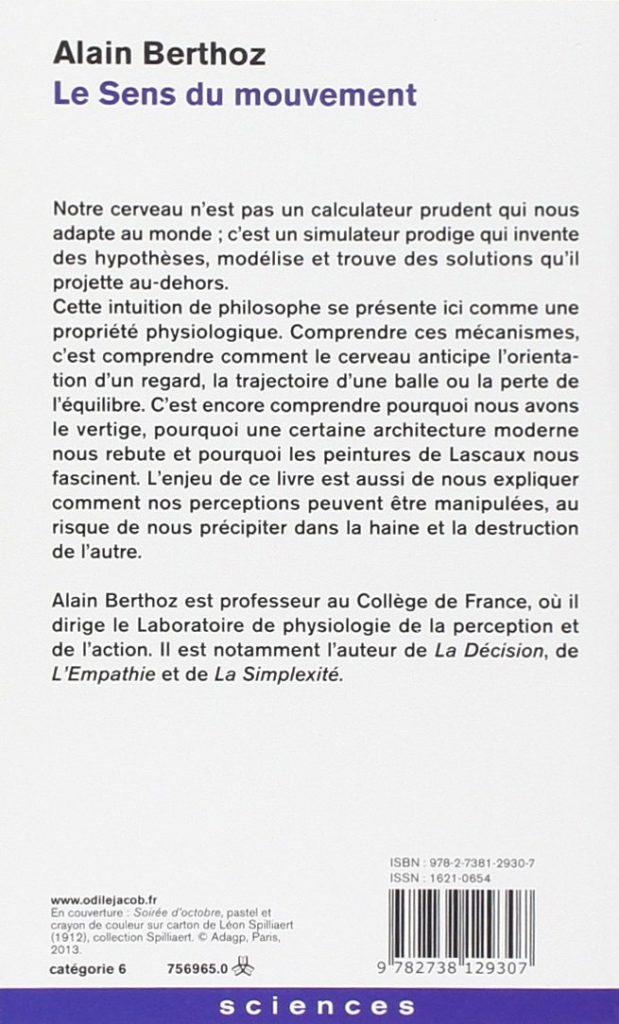 """4ème de couverture, """"Le sens du mouvement"""" d'Alain Berthoz   Editions Odile Jacob"""